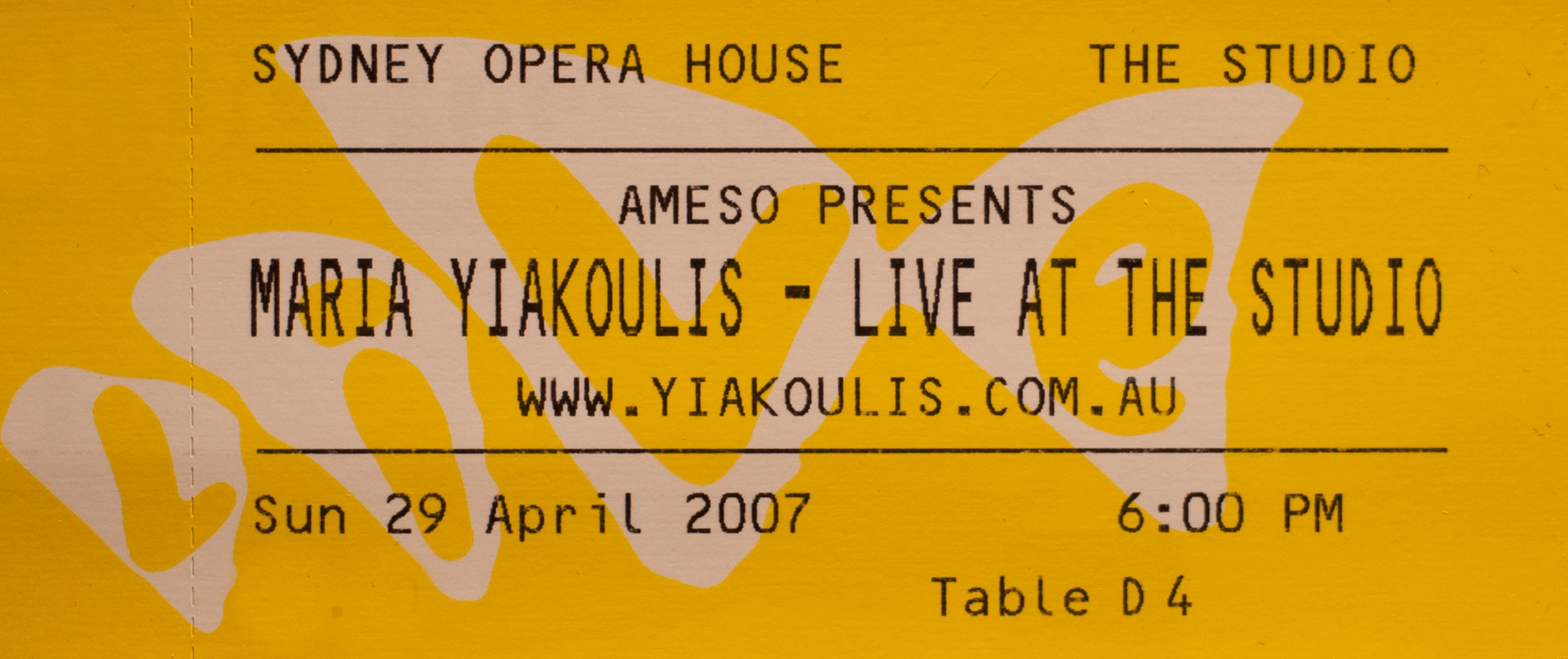 Maria Yiakoulis Live at the Studio 2007 Ticket